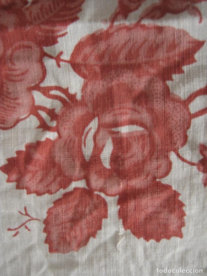 Antigüedades: Antiguo Pañuelo Algodón Estampado para cabeza u hombros - Foto 6 - 166723402