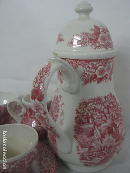 Antigüedades: Juego de cafe porcelana de Staffordshire, sellado base : cafetera lechera azucarero y 2 tazas platos - Foto 2 - 166723614