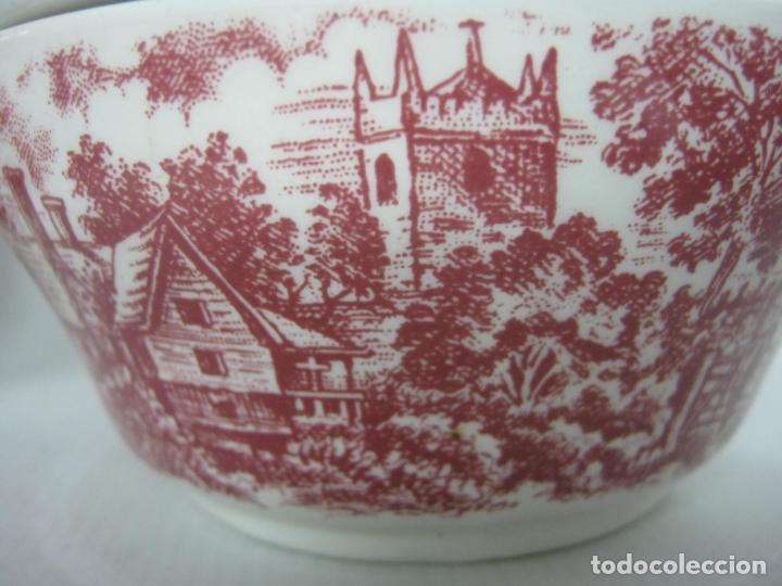 Antigüedades: Juego de cafe porcelana de Staffordshire, sellado base : cafetera lechera azucarero y 2 tazas platos - Foto 3 - 166723614