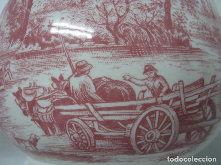 Antigüedades: Juego de cafe porcelana de Staffordshire, sellado base : cafetera lechera azucarero y 2 tazas platos - Foto 4 - 166723614