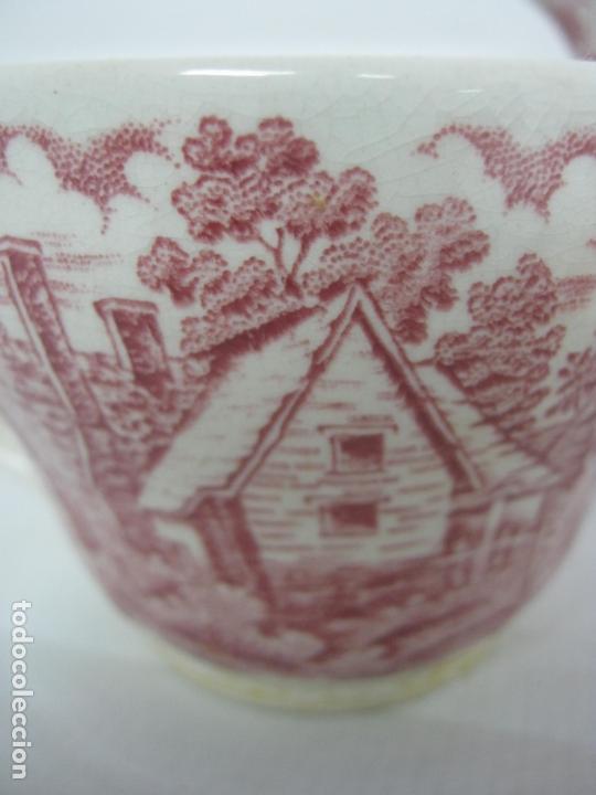 Antigüedades: Juego de cafe porcelana de Staffordshire, sellado base : cafetera lechera azucarero y 2 tazas platos - Foto 7 - 166723614