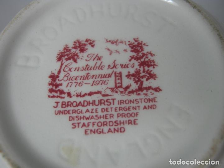 Antigüedades: Juego de cafe porcelana de Staffordshire, sellado base : cafetera lechera azucarero y 2 tazas platos - Foto 10 - 166723614