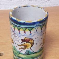 Antigüedades: BOTE CERAMICA PINTADO A MANO TALAVERA O VALENCIANA. Lote 166727333
