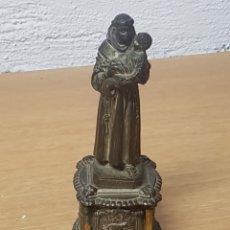 Antigüedades: SAN ANTONIO DE PELTRE CON PEANA FIRMADO DEPOSE. Lote 166727416