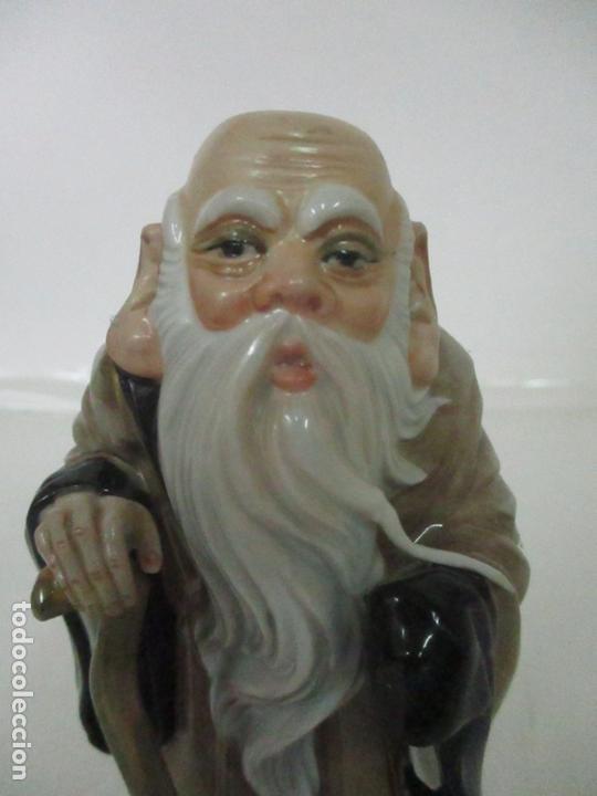 Antigüedades: Curiosas 7 Figuras Orientales - Inmortales - China - Porcelana - Sello Algora - Foto 5 - 166748922