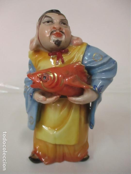 Antigüedades: Curiosas 7 Figuras Orientales - Inmortales - China - Porcelana - Sello Algora - Foto 21 - 166748922