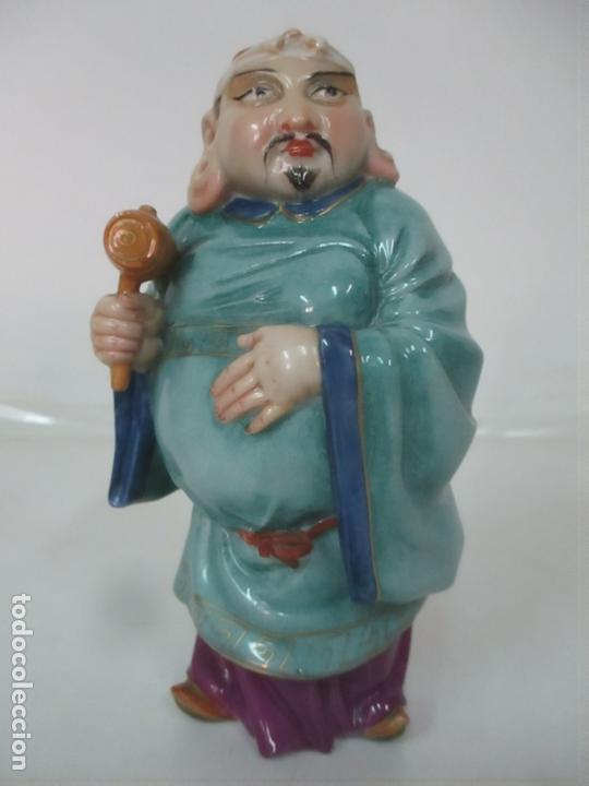 Antigüedades: Curiosas 7 Figuras Orientales - Inmortales - China - Porcelana - Sello Algora - Foto 31 - 166748922