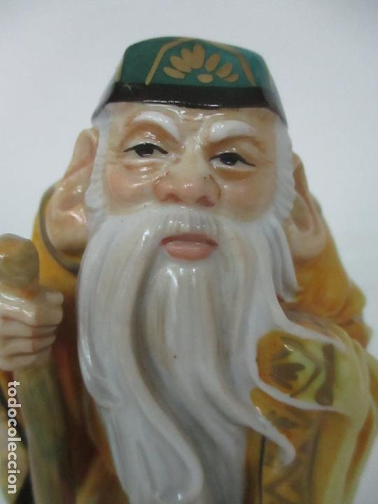 Antigüedades: Curiosas 7 Figuras Orientales - Inmortales - China - Porcelana - Sello Algora - Foto 45 - 166748922