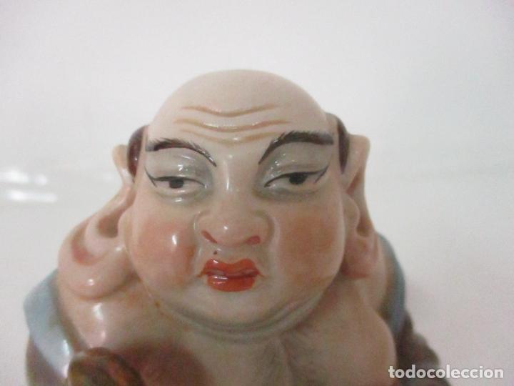 Antigüedades: Curiosas 7 Figuras Orientales - Inmortales - China - Porcelana - Sello Algora - Foto 66 - 166748922