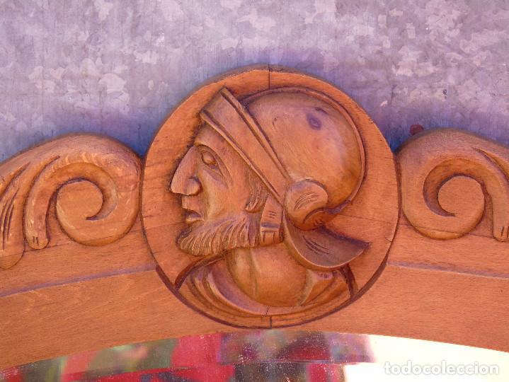 Antigüedades: ANTIGUO GRAN ESPEJO. MADERA DE HAYA. BISELADO. RESTAURADO - Foto 5 - 166749734