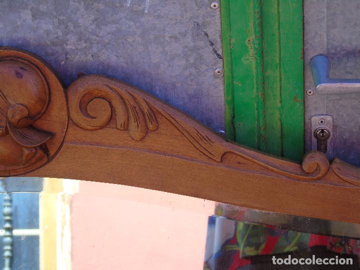 Antigüedades: ANTIGUO GRAN ESPEJO. MADERA DE HAYA. BISELADO. RESTAURADO - Foto 6 - 166749734