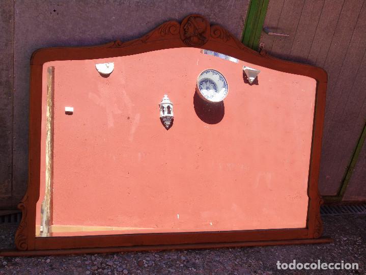 Antigüedades: ANTIGUO GRAN ESPEJO. MADERA DE HAYA. BISELADO. RESTAURADO - Foto 11 - 166749734