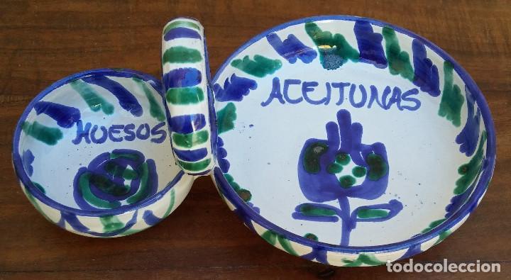 Antigüedades: BONITO PLATO CERÁMICA SERVICIO DE ACEITUNAS FAJALAUZA, PERFECTO ESTADO. - Foto 2 - 166752170
