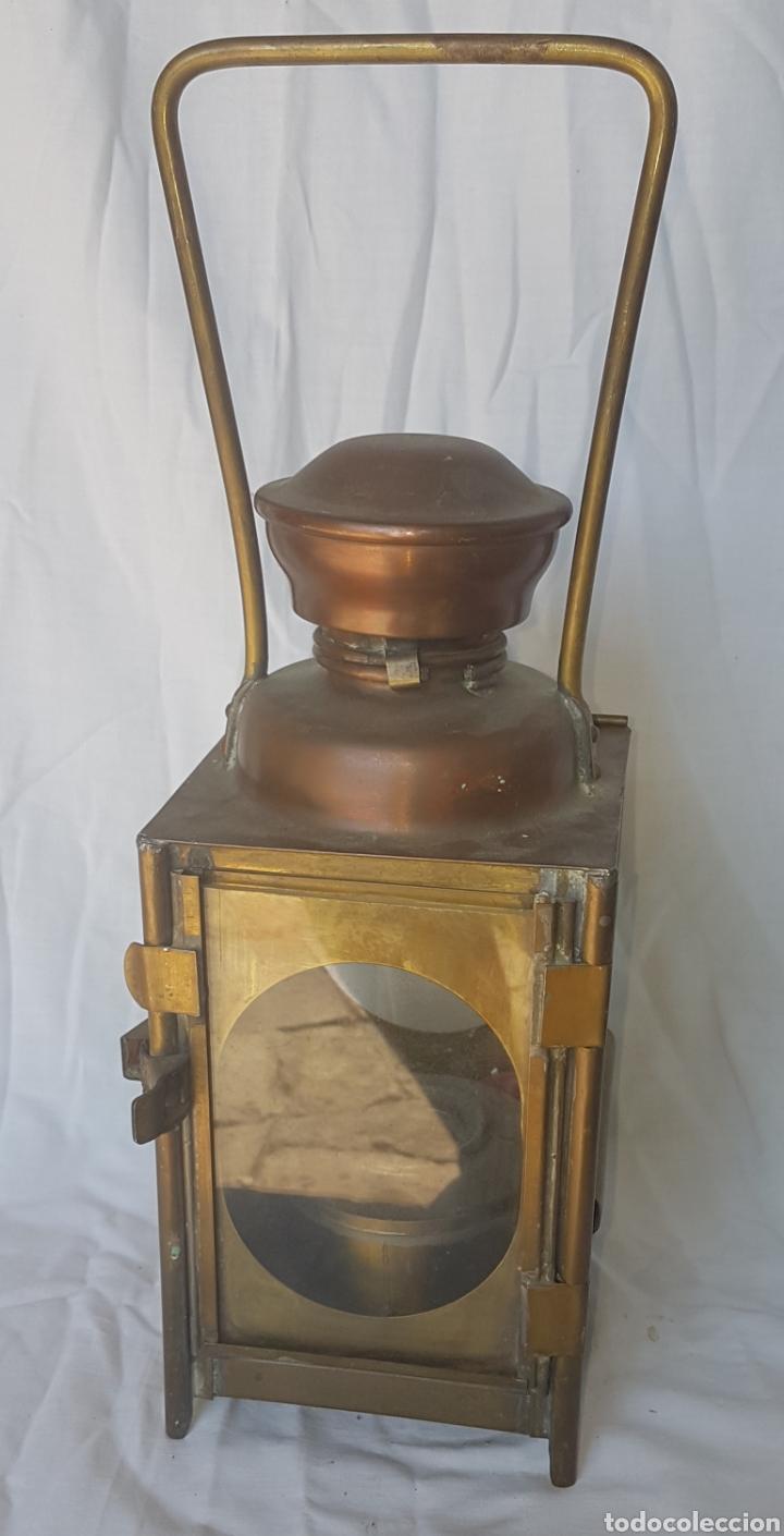 ANTIGUO GRAN FAROL FERROCARRIL TREN (Antigüedades - Iluminación - Faroles Antiguos)