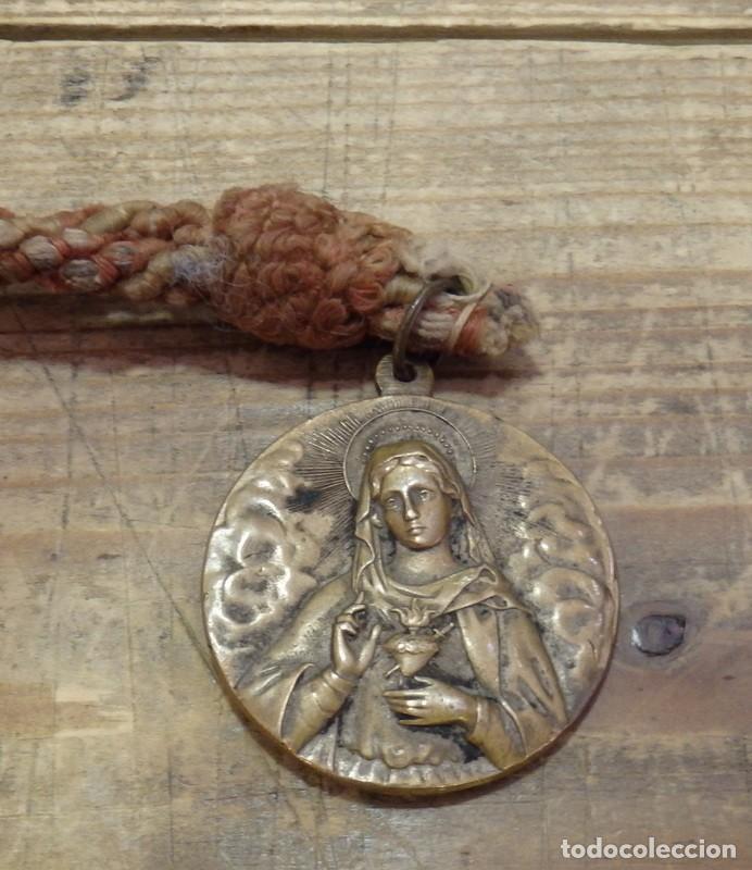 MAGNIFICA MEDALLA DEL CORAZON DE MARIA, REVERSO SAN ANTONIO MARIA CLARET,40MM DIAMETRO (Antigüedades - Religiosas - Medallas Antiguas)
