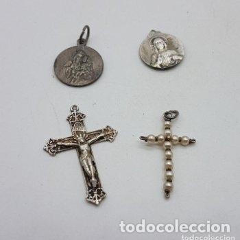 Antigüedades: Grupo de cruces y medallas antiguas en plata de ley. - Foto 3 - 166775226