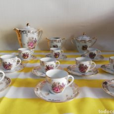 Antigüedades: LIMOGES IDEAL JUEGO DE CAFÉ PORCELANA FRANCESA ALTA CALIDAD SELLO EN REVERSO IMPECABLE. Lote 166785420