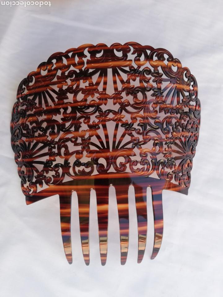 GRAN PEINETA ANTIGUA ESPAÑOLA EN SIMIL CAREY. (Antigüedades - Moda - Peinetas Antiguas)