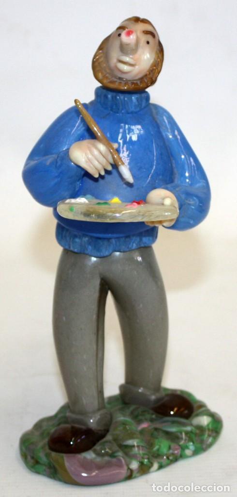 FIGURA DE UN PINTOR EN CRISTAL DE BOHEMIA (CHECOSLOVAQUIA). MUY ORIGINAL (Antigüedades - Cristal y Vidrio - Murano)