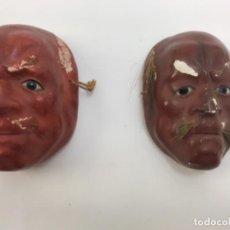 Antigüedades: PAREJA DE MÁSCARAS JAPONESAS EN CARTON PIEDRA SIGLO XIX MINIATURA. Lote 166796642