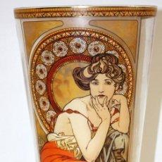 Antigüedades: PRECIOSO JARRON EN CRISTAL (ESTILO MODERNISTA) ADORNADO CON PEDRERIA. MODELO ALPHONSE MUCHA. Lote 166803194