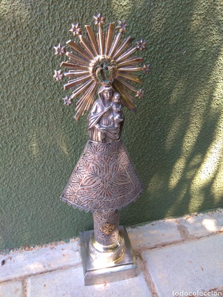 IMAGEN VIRGEN DEL PILAR EN FILIGRANA DE PLATA CON PUNZONES Y FIRMA (Antigüedades - Religiosas - Orfebrería Antigua)