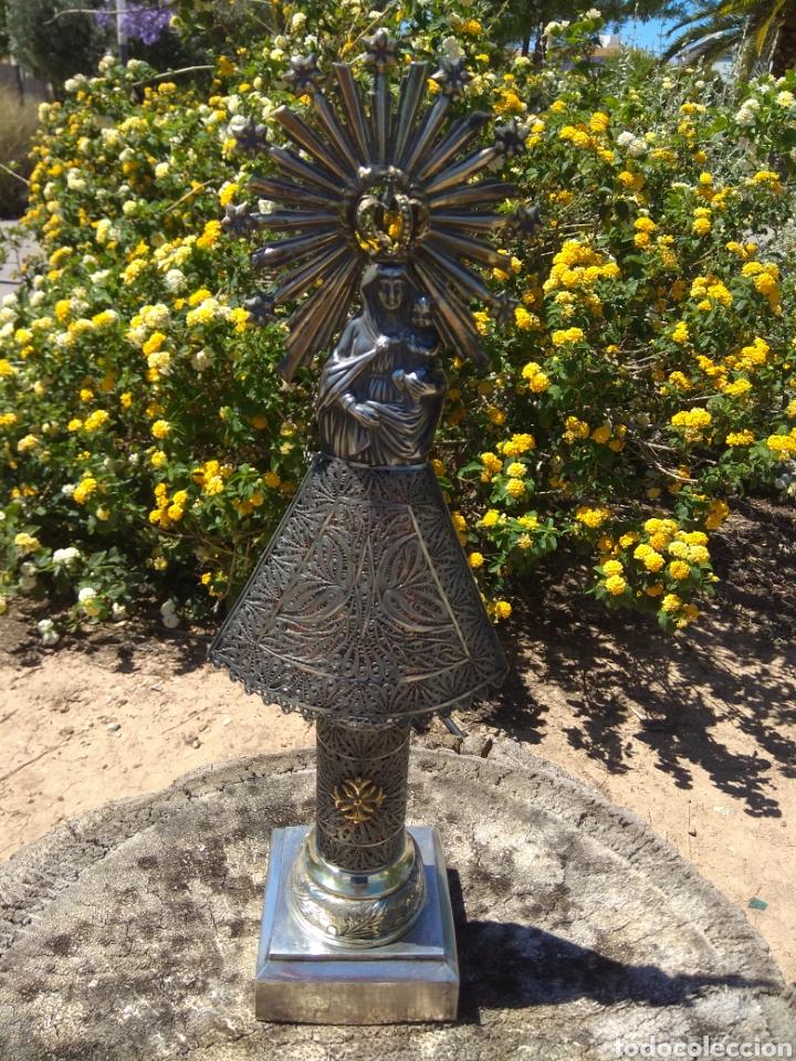 Antigüedades: Imagen Virgen del Pilar en Filigrana de Plata con Punzones y Firma - Foto 5 - 166837869