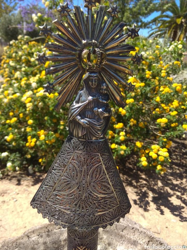 Antigüedades: Imagen Virgen del Pilar en Filigrana de Plata con Punzones y Firma - Foto 6 - 166837869