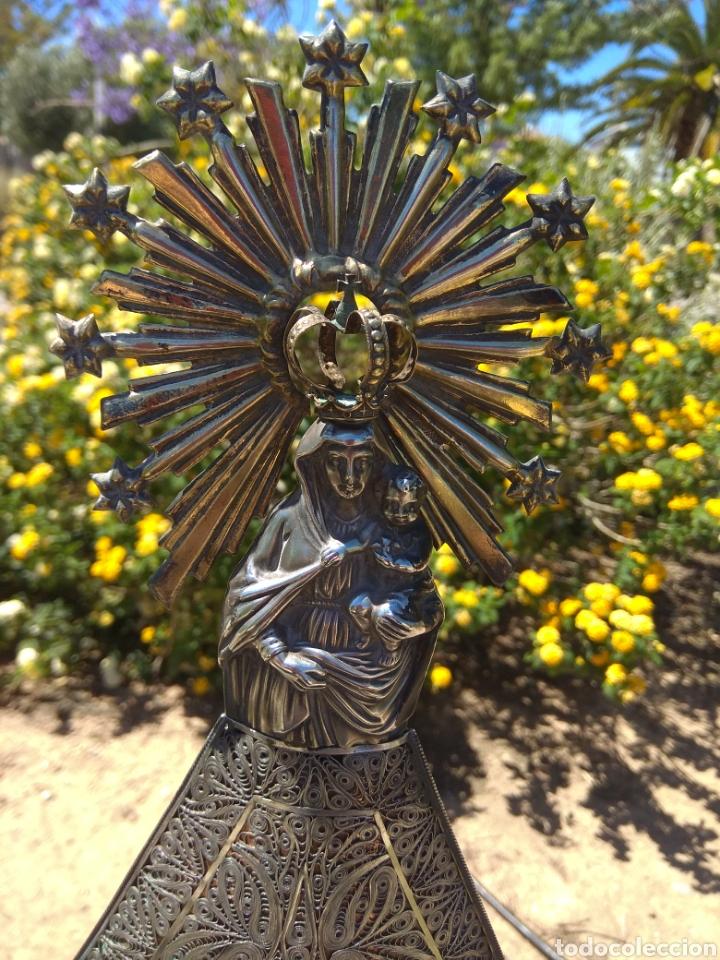 Antigüedades: Imagen Virgen del Pilar en Filigrana de Plata con Punzones y Firma - Foto 7 - 166837869