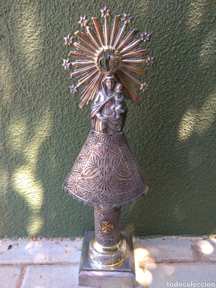Antigüedades: Imagen Virgen del Pilar en Filigrana de Plata con Punzones y Firma - Foto 10 - 166837869