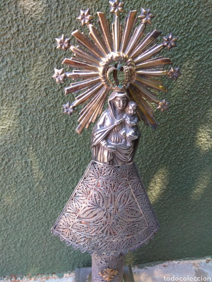 Antigüedades: Imagen Virgen del Pilar en Filigrana de Plata con Punzones y Firma - Foto 11 - 166837869