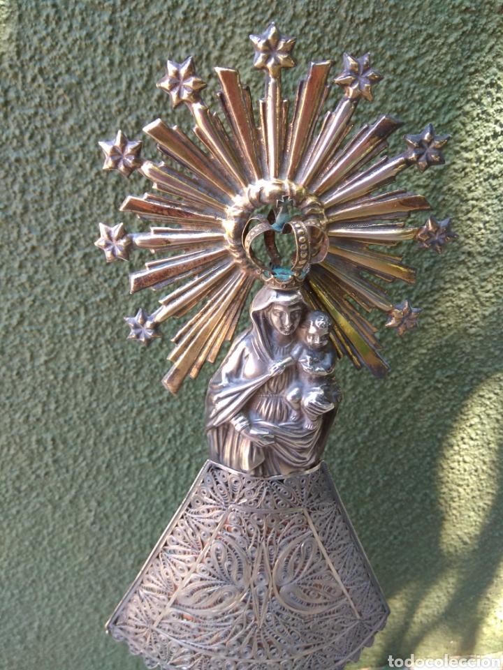Antigüedades: Imagen Virgen del Pilar en Filigrana de Plata con Punzones y Firma - Foto 13 - 166837869