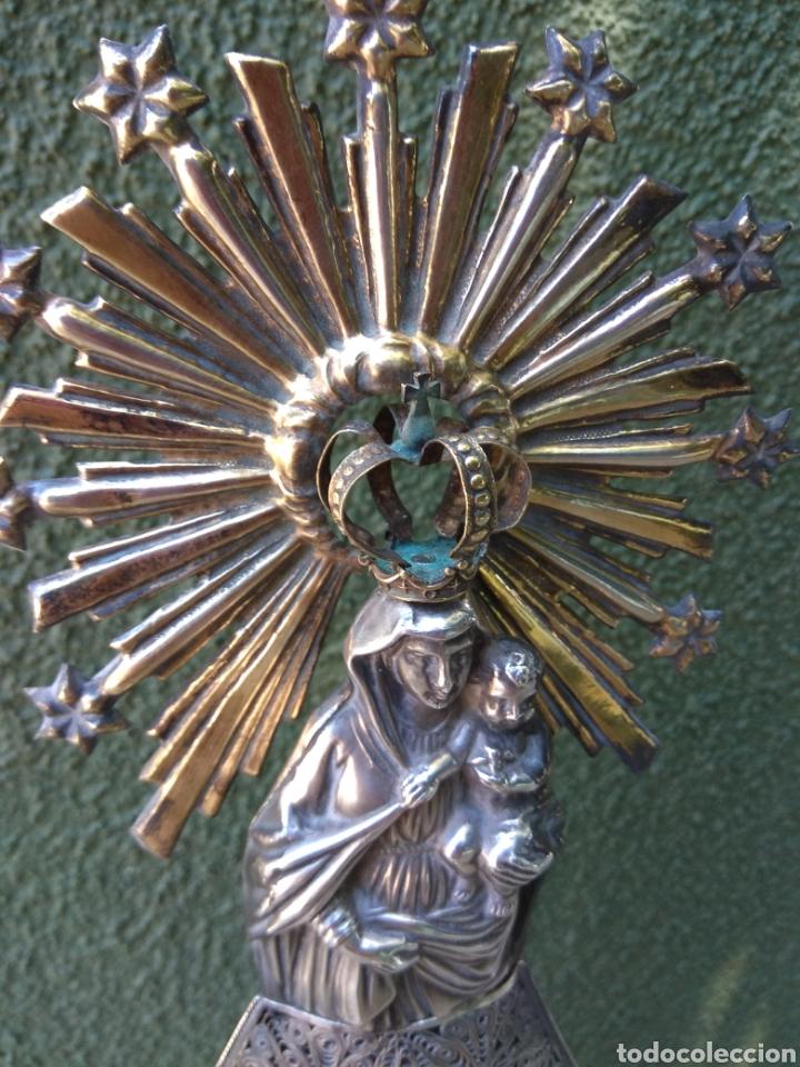 Antigüedades: Imagen Virgen del Pilar en Filigrana de Plata con Punzones y Firma - Foto 16 - 166837869
