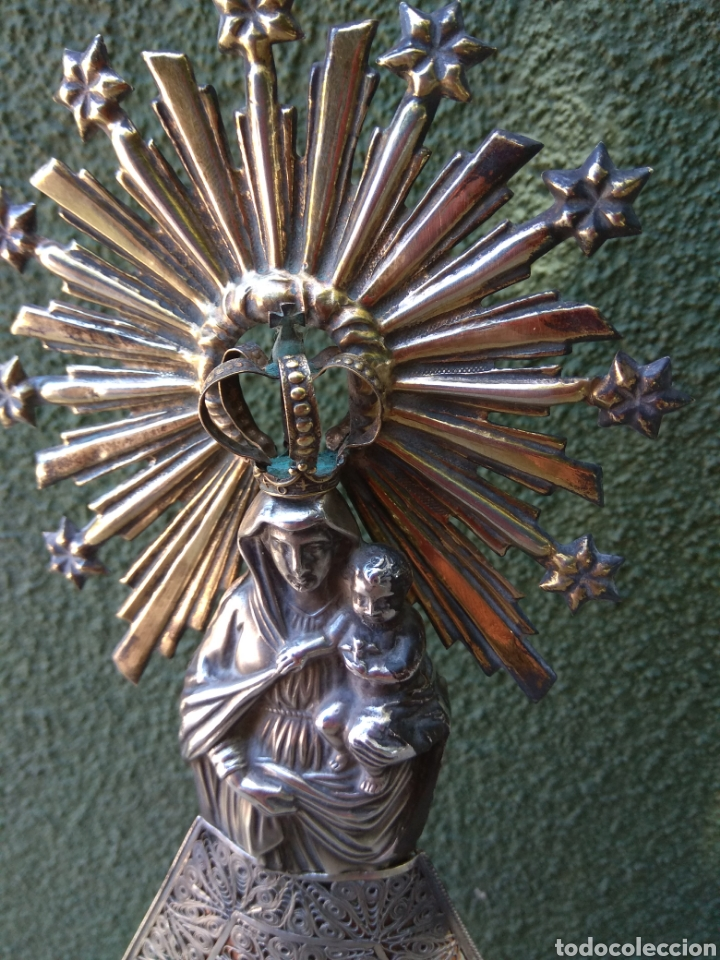 Antigüedades: Imagen Virgen del Pilar en Filigrana de Plata con Punzones y Firma - Foto 17 - 166837869