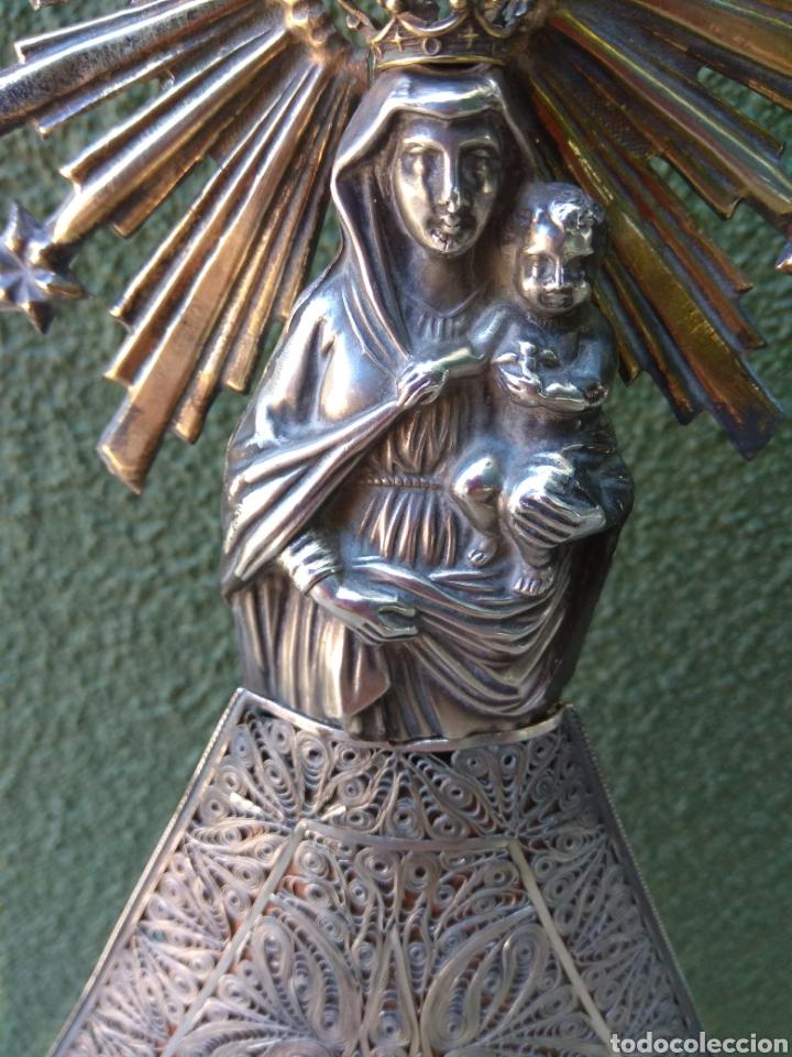 Antigüedades: Imagen Virgen del Pilar en Filigrana de Plata con Punzones y Firma - Foto 18 - 166837869