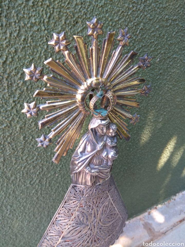 Antigüedades: Imagen Virgen del Pilar en Filigrana de Plata con Punzones y Firma - Foto 24 - 166837869