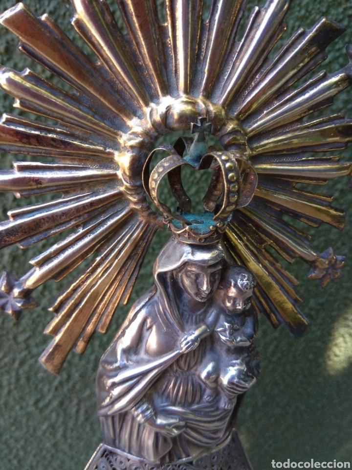 Antigüedades: Imagen Virgen del Pilar en Filigrana de Plata con Punzones y Firma - Foto 25 - 166837869
