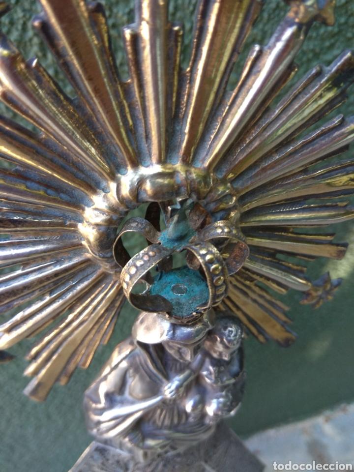 Antigüedades: Imagen Virgen del Pilar en Filigrana de Plata con Punzones y Firma - Foto 26 - 166837869