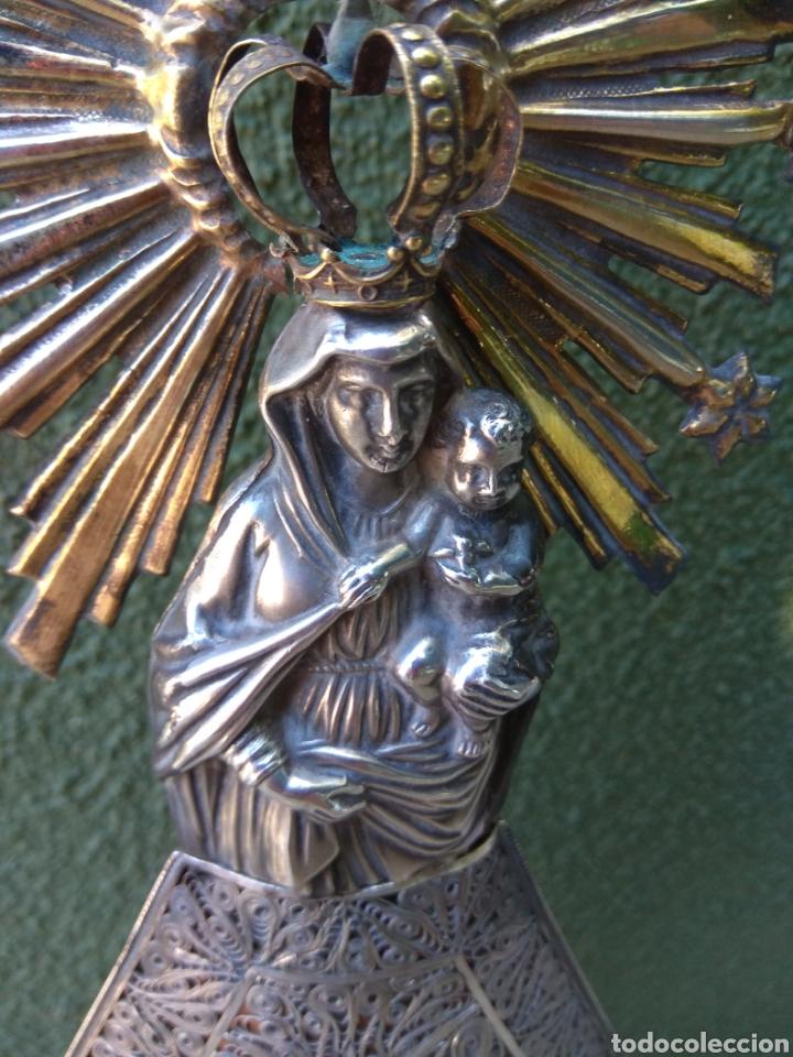 Antigüedades: Imagen Virgen del Pilar en Filigrana de Plata con Punzones y Firma - Foto 27 - 166837869