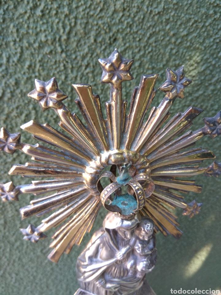 Antigüedades: Imagen Virgen del Pilar en Filigrana de Plata con Punzones y Firma - Foto 28 - 166837869