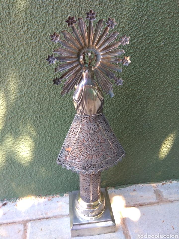 Antigüedades: Imagen Virgen del Pilar en Filigrana de Plata con Punzones y Firma - Foto 30 - 166837869