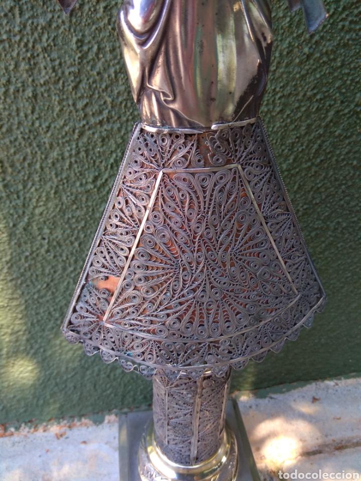 Antigüedades: Imagen Virgen del Pilar en Filigrana de Plata con Punzones y Firma - Foto 31 - 166837869