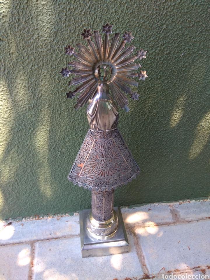 Antigüedades: Imagen Virgen del Pilar en Filigrana de Plata con Punzones y Firma - Foto 32 - 166837869