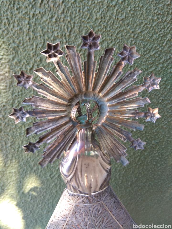 Antigüedades: Imagen Virgen del Pilar en Filigrana de Plata con Punzones y Firma - Foto 33 - 166837869