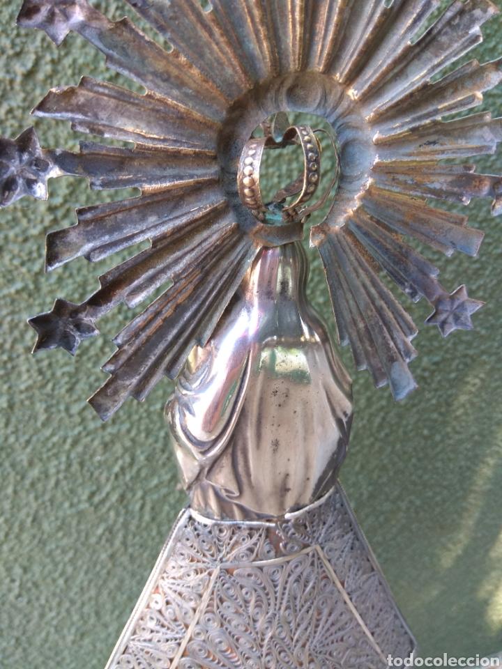 Antigüedades: Imagen Virgen del Pilar en Filigrana de Plata con Punzones y Firma - Foto 34 - 166837869