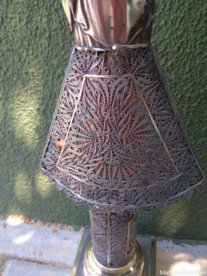 Antigüedades: Imagen Virgen del Pilar en Filigrana de Plata con Punzones y Firma - Foto 36 - 166837869