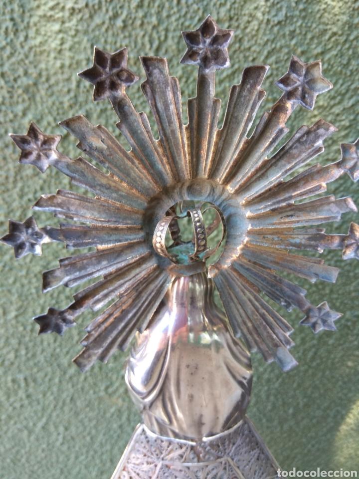 Antigüedades: Imagen Virgen del Pilar en Filigrana de Plata con Punzones y Firma - Foto 43 - 166837869
