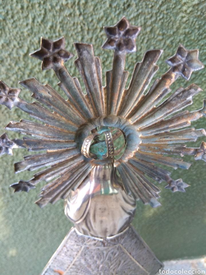 Antigüedades: Imagen Virgen del Pilar en Filigrana de Plata con Punzones y Firma - Foto 44 - 166837869