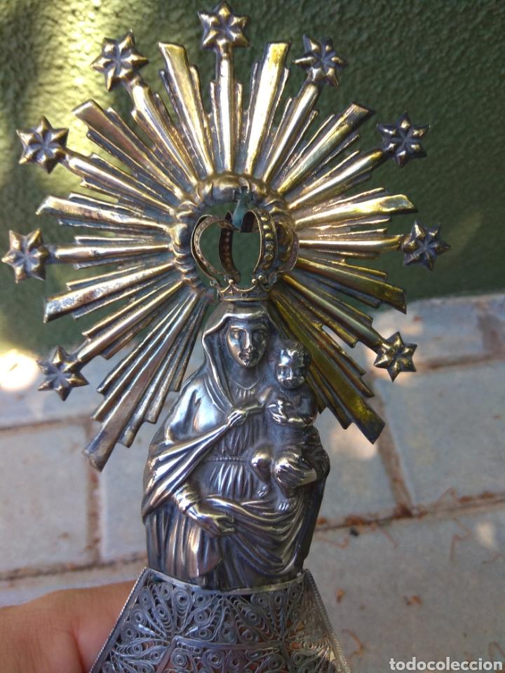Antigüedades: Imagen Virgen del Pilar en Filigrana de Plata con Punzones y Firma - Foto 50 - 166837869