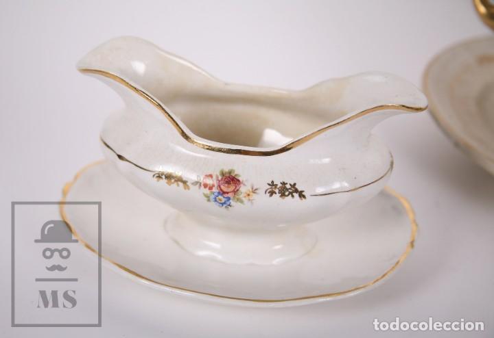 Antigüedades: Conjunto de Sopera, Fuente y Salsera de Loza / San Claudio - Oviedo, Asturias - Motivos Florales - Foto 2 - 166871292